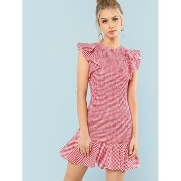 Keyhole Back Ruffle Hem Shirred Panel Dress