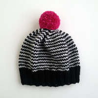 The Stripe-A-Thon Hat in Black, White, Raspberry Pink - MADE TO ORDER