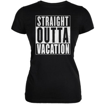 Straight Outta Family Vacation Black Juniors Soft T-Shirt