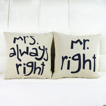 1PC MR MRS Couples Gift Linen Throw Pillow Case Fashion Cute Lover Sofa Cushion Pillow Covers Home Furniture Decor [8598475853]