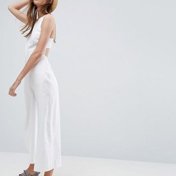 ASOS Minimal Linen Jumpsuit with Open Back at asos.com