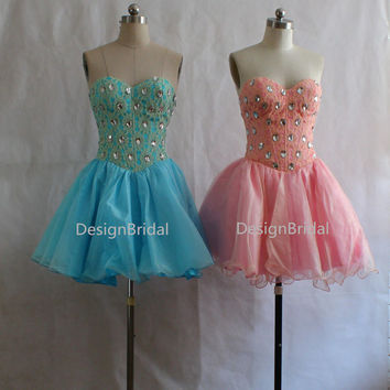 Polka Dot Crystal Short Evening Dress,Christmas Party Short Dress,Cute Strapless Barbie Style Gown,Light Pink/Blue Prom/Ball Dress