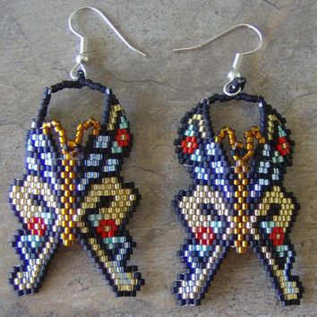 Butterfly Earrings Hand Made Seed Beaded