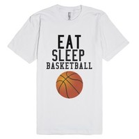 Eat Sleep Basketball-Unisex White T-Shirt
