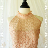 Love Lacy Cocktail Dress - Gorgeous Beige Lace Dress Beige Nude Coffee Prom Dress Party Dress Wedding Cocktail Bridesmaid Dress High Neck