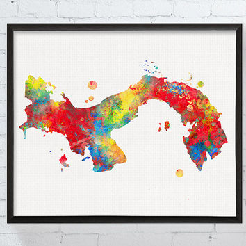 Panama Map, Panama Poster, Watercolor Map, Map Print, Map Painting, Travel Art, Framed Art, Panama Wall Art, Geography Poster, Custom Color