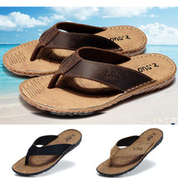 Men's flip flops Genuine leather Slippers