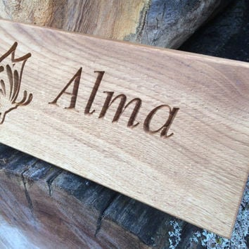 Custom Personalised Oak Door Plaque Sign with Engraved Name, Wooden Engraved Door Sign, Wooden Children's Room Door Plaque, Oak Door Sign