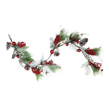 "68"" Bells  Berries and Pine Cones Frosted and Flocked Decorative Christmas Garland - Unlit"