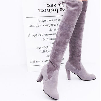 Women Stretch Faux Suede Slim Thigh High Boots Sexy Fashion Over the Knee Boots High Heels Woman Shoes Black Gray Winered Martin