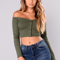 Talk That Talk Off Shoulder Top - Olive