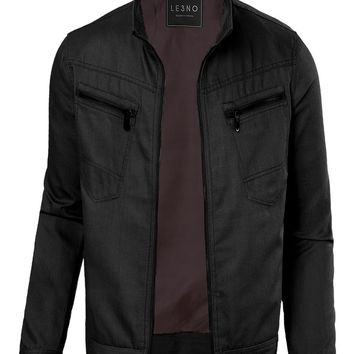 LE3NO Mens Cotton Zip Up Military Biker Jacket with Pockets