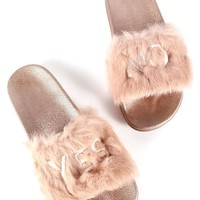 Rose  Yes or No Faux Fur Slides