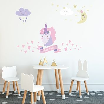 Magical Unicorn Decals, 5 Eco-Friendly Pastel Wall Decals in Scandinavian Style
