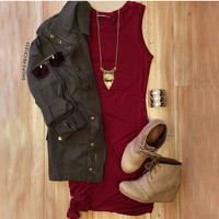 Knot It Dress - Burgundy