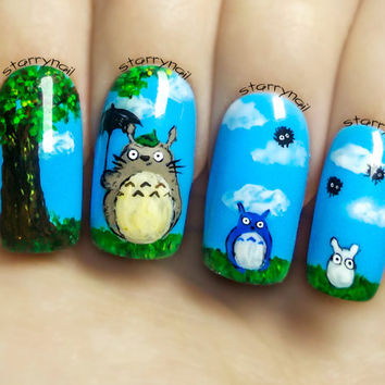 Totoro Nail Art. Handmade Fake Nails, False Nails, Press On Nails, Micropainting On Nails