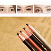 4Pcs/set Makeup Cosmetic Eye Liner Eyebrow Pencil Brush Tool Light Brown Black Grey (Color: Black) = 1669286020