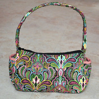 beautiful small purse, handbag -- multicolored paisley patterned with pink lining, zipper, and many pockets