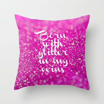Glitter in my Veins II (Photo of Glitter) Throw Pillow by Beth - Paper Angels Photography