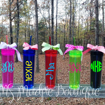 Personalized/Monogrammed Bright Tall and Skinny Acrylic Tumbler