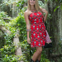 Fall Into Aztec Dress - Black/Red