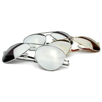 Sale Mirrored Lens Metal Aviator Sunglasses 1375 [3 Pack]