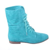 New!! Lace up Military Combat Women Round Toe Flat Ankle Boots