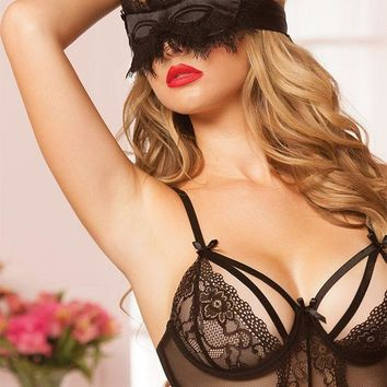 Black Satin and Eyelash Lace Eye Mask in OS