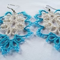 Tatted earrings-gift for her-wedding accessories-handmade Jewerly- Cloud Gate- blue and milky-