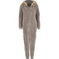 River Island Womens Grey faux fur trim Onesuit