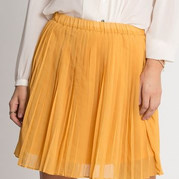 Emma Pleated Skirt In Yellow | Ruche