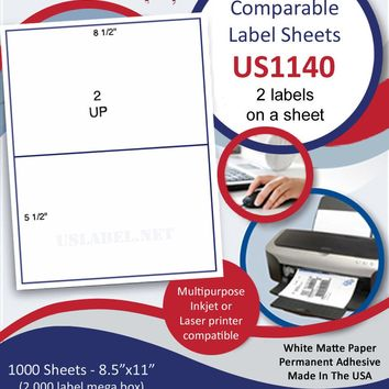 "US1140 - 8 1/2'' x 5 1/2'' - Comparable #5126 - 2 up on a 8 1/2"" x 11"" sheet."