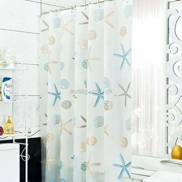 US 12 Hooks Sea Shell Starfish Shower Curtain Bathroom Waterproof Curtains Decor
