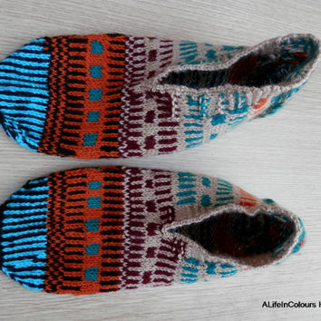 Turkish hand knitted men's unique warm slippers, slipper socks, house shoes.