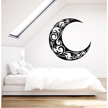 Vinyl Wall Decal Crescent Moon Ornament Night Bedroom Decoration Stickers (3336ig)