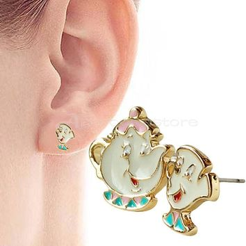 Womens Lovely Cartoon Beauty And The Beast Earrings Cute Teapot Ear Studs
