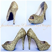 Gold Peep Toe Glitter Pumps, Open Toe High Heels