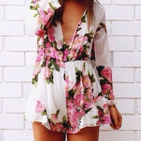 Printed fashion long-sleeved jumpsuits L763148
