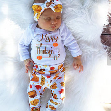 afd61ca2f 4Pcs Infant Babies Long Sleeve Onesuit+Pants+Hat+Headband Letter  Thanksgiving Day Outfits Newborn Kids Baby Girl Boy Outfit Set