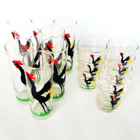 Vintage 50s Federal Rooster Tumblers - Cock Cro Pattern Collins and / or Rocks Glasses