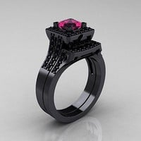 1.33ct Pink Round cut solitaire sterling silver wedding ring with free ship1