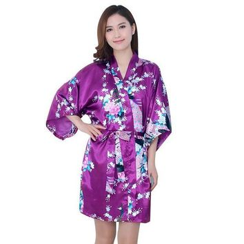 DCCKU62 Essential Women Fall Autum Silk Satin Long Wedding Bride Bridesmaid Robe Peacock Bathrobe Floral Kimono Robe Size M~XXL