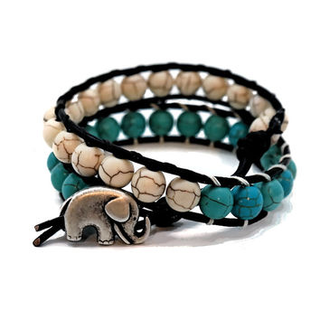 Double Wrap Leather Breaded Cream Blue Turquoise Elephant Handmade 8mm Natural Bead Bracelet