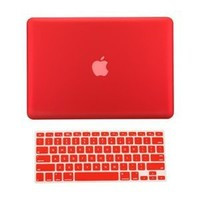 "TopCase® 2 in 1 Ultra Slim Light Weight Rubberized Hard Case Cover and Keyboard Cover for Macbook Pro 13-inch 13"" (A1278/with or without Thunderbolt) with TopCase® Mouse Pad (Macbook Pro 13"" A1278, Red)"