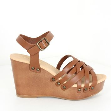 Studded Strap Wedges Tan