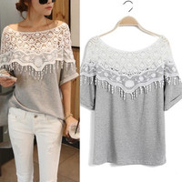 S-5XL Women Sweet Hollow Out Off Shoulder Lace Loose Tee Women T-shirt  Crochet Cape Collar Tops Blouse 3 Colors = 1920506372