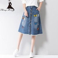 2017 New Summer Women Cotton Denim Skirts Jeans Femme Mori Girl Style Butterfly Appliques Jean Skirts Long A-Line Skirt Split