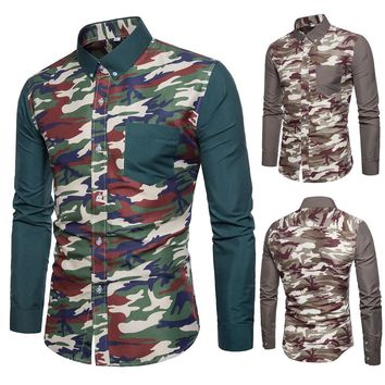 Men's Casual Camouflage Patchwork Slim Fit Long Sleeve Shirt Top Blouse