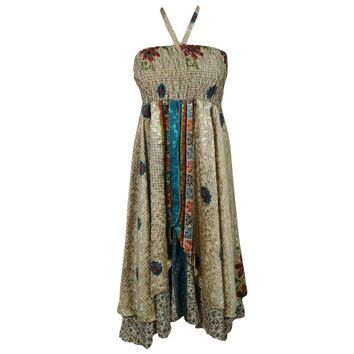 Mogul Just One Look Recycled Silk Sari Vintage Two Layer Bohemian Style Printed Evening Boho Chic Summer Dress - Walmart.com