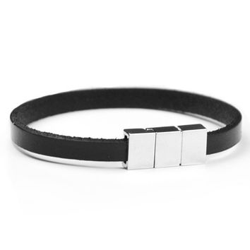 Hot Sale Gift Great Deal Shiny Stylish Awesome New Arrival Leather Korean Black Ring Men Simple Design Bangle Accessory Bracelet [6526720771]